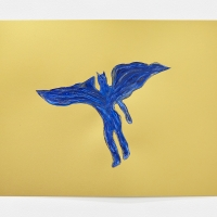 'Blue Devil #14', 2021, Sennelier pastel paper, Sennelier pastels, Sennelier spray fix, G.F.Smith Peregrina Majestic Real Gold, 250 gsm paper, 45 x 32cm, £200