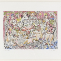Family Album: Family Fortunes [plate 3], 2019 Etching on paper hand coloured by the artist 29.7 x 42 cm (image size)