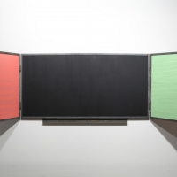 Xabier Basterra, Blackboard 2011. Metal, oil on panel, 360x90 cm