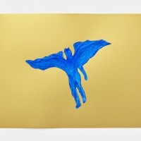 'Blue Devil #11', 2021, Sennelier pastel paper, Sennelier pastels, Sennelier spray fix, G.F.Smith Peregrina Majestic Real Gold, 250 gsm paper, 45 x 32cm, £200