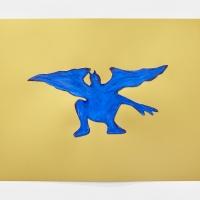 'Blue Devil #4', 2021, Sennelier pastel paper, Sennelier pastels, Sennelier spray fix, G.F.Smith Peregrina Majestic Real Gold, 250 gsm paper, 45 x 32cm, £200, SOLD