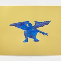'Blue Devil #9', 2021, Sennelier pastel paper, Sennelier pastels, Sennelier spray fix, G.F.Smith Peregrina Majestic Real Gold, 250 gsm paper, 45 x 32cm, £200