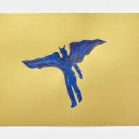 'Blue Devil #15', 2021, Sennelier pastel paper, Sennelier pastels, Sennelier spray fix, G.F.Smith Peregrina Majestic Real Gold, 250 gsm paper, 45 x 32cm, £200, SOLD