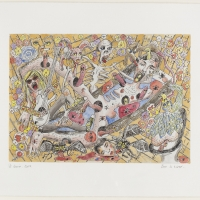 Family Album: Nirvana [plate 5], 2019 Etching on paper hand coloured by the artist 29.7 x 42 cm (image size)