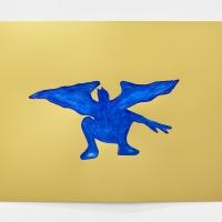 'Blue Devil #3', 2021, Sennelier pastel paper, Sennelier pastels, Sennelier spray fix, G.F.Smith Peregrina Majestic Real Gold, 250 gsm paper, 45 x 32cm, £200SOLD