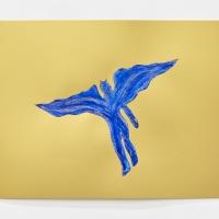 'Blue Devil #13', 2021, Sennelier pastel paper, Sennelier pastels, Sennelier spray fix, G.F.Smith Peregrina Majestic Real Gold, 250 gsm paper, 45 x 32cm, £200