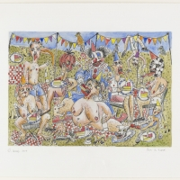 Family Album: The Queen's Garden [plate 2], 2019 Etching on paper hand coloured by the artist 29.7 x 42 cm (image size)
