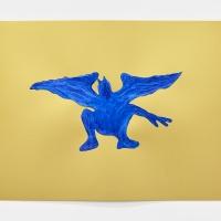 'Blue Devil #7', 2021, Sennelier pastel paper, Sennelier pastels, Sennelier spray fix, G.F.Smith Peregrina Majestic Real Gold, 250 gsm paper, 45 x 32cm, £200SOLD