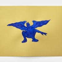 'Blue Devil #6', 2021, Sennelier pastel paper, Sennelier pastels, Sennelier spray fix, G.F.Smith Peregrina Majestic Real Gold, 250 gsm paper, 45 x 32cm, £200, SOLD