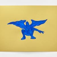'Blue Devil #8', 2021, Sennelier pastel paper, Sennelier pastels, Sennelier spray fix, G.F.Smith Peregrina Majestic Real Gold, 250 gsm paper, 45 x 32cm, £200