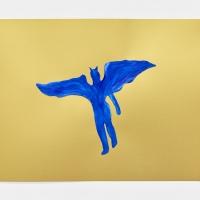 'Blue Devil #10', 2021, Sennelier pastel paper, Sennelier pastels, Sennelier spray fix, G.F.Smith Peregrina Majestic Real Gold, 250 gsm paper, 45 x 32cm, £200, SOLD
