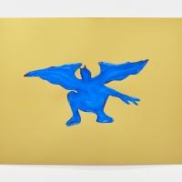 'Blue Devil #5', 2021, Sennelier pastel paper, Sennelier pastels, Sennelier spray fix, G.F.Smith Peregrina Majestic Real Gold, 250 gsm paper, 45 x 32cm, £200SOLD