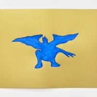 'Blue Devil #1', 2021, Sennelier pastel paper, Sennelier pastels, Sennelier spray fix, G.F.Smith Peregrina Majestic Real Gold, 250 gsm paper, 45 x 32cm, £200